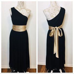 Banana Republic Sz 10 Chiffon Midi Dress Black